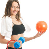 Young woman with ball, isolated — Stock Photo