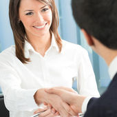 Cheerful businesspeople handshaking — Stok fotoğraf