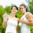 Cheerful couple on outdoor fitness workout - Stock Photo