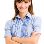 Cheerful businesswoman, over white — Stock Photo