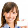 Businesswoman with blank business or plastic card — Stock Photo #13367534