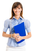 Cheerful businesswoman with folder, over white — Stock Photo