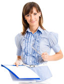 Cheerful businesswoman writing, isolated over white — Stock Photo