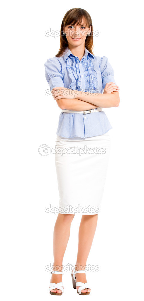 Full body portrait of cheerful smiling business woman, isolated over white background  Stock Photo #13367409