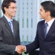 Happy businesspeople handshaking — Stock Photo
