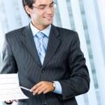 Businessman at meeting, seminar or training — Stock Photo