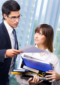 Businesspeople with documents at office — Foto de Stock