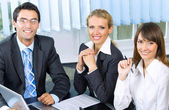 Portrait of three businesspeople at office — Stock Photo