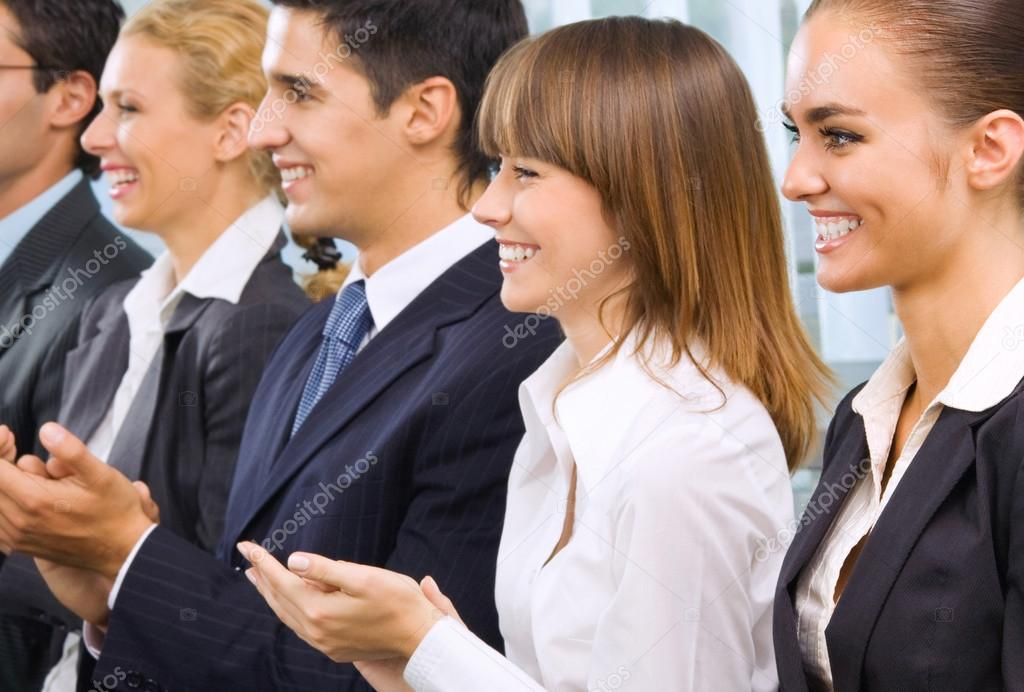 Cheerful business applauding — Stock Photo #13546556