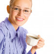 Business woman drinking coffee, isolated — Stock Photo