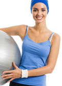 Cheerful smiling woman with fitball, over white — Stock Photo