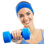 Cheerful woman exercising with dumbbell, over white — Stock Photo