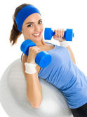Woman with fitness ball, isolated — Stock Photo