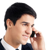 Businessman with cellphone, isolated — Stock Photo