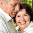 Senior happy couple embracing, outdoors — Stock Photo #14046548