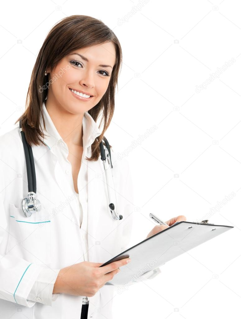 Portrait of cheerful female doctor with clipboard, isolated over white background — Stock Photo #14326545