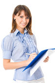 Happy smiling cheerful young business woman with documents, isolated — Stock Photo