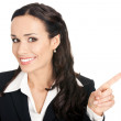 Business woman showing, isolated — Stock Photo