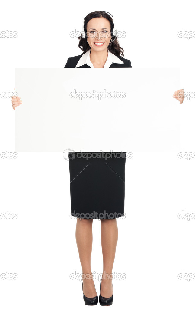 Full body of smiling young business woman showing blank signboard, isolated over white background — Stock Photo #15795133