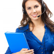 Support phone operator in headset, isolated — Stock Photo #16273093