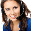 Support phone operator in headset, isolated — Stock Photo #16273163