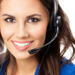 Support phone operator in headset, isolated — Stock Photo #16273207