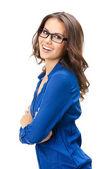 Glada leende affärskvinna, över vita — Stockfoto