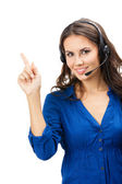 Support phone operator showing, isolated — Stock Photo