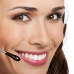 operador de telefone de suporte no fone de ouvido, isolado — Foto Stock