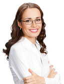 Portrait of smiling businesswoman, isolated — Foto Stock