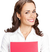 Smiling businesswoman with red folder, on white — ストック写真