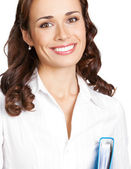 Smiling businesswoman with blue folder, on white — Stok fotoğraf