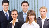 Happy five businesspeople — Stock Photo