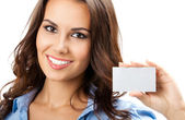 Businesswoman with blank business card, isolated — Stock Photo