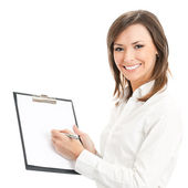 Happy smiling cheerful young businesswoman writing on clipboard, — Stock Photo