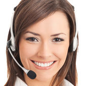 Support phone operator in headset, isolated on white — Stock Photo
