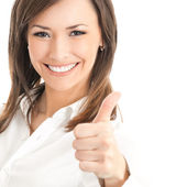 Happy smiling businesswoman with thumbs up gesture, isolated on — Stock Photo
