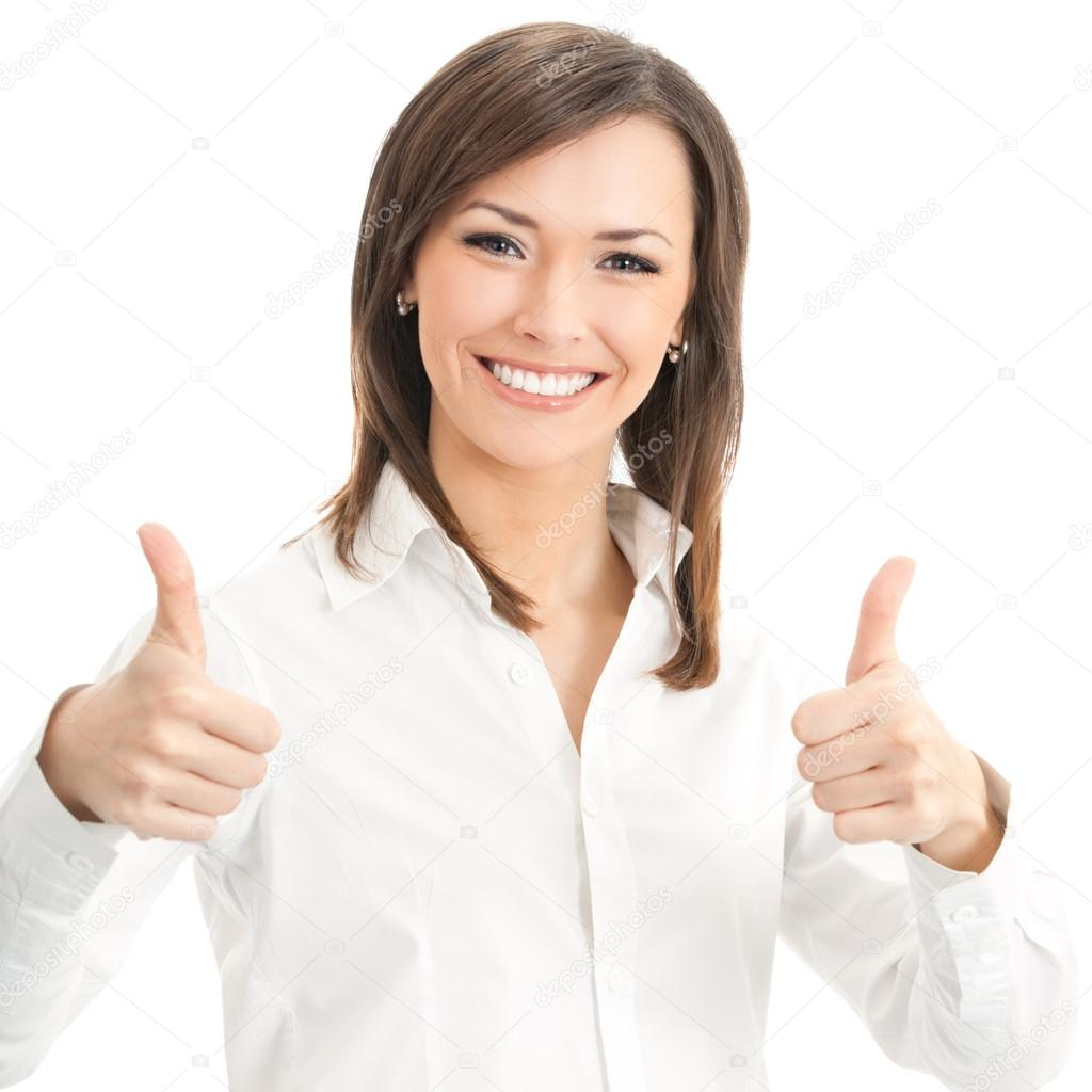 Happy smiling businesswoman with thumbs up gesture, isolated on white background — Stock Photo #18638847