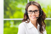 Support phone operator in headset — Stok fotoğraf