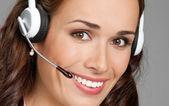 Destek telefonu operatörü kulaklık, gri — Stok fotoğraf
