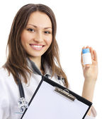 Doctor with medical drug, isolated — Stock Photo
