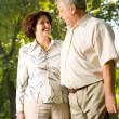 Happy senior couple walking outdoor — Stock Photo