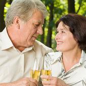 Altes paar feiert mit champagner, im freien — Stockfoto