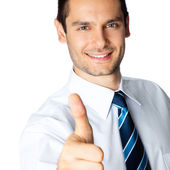 Businessman with thumbs up, isolated — Stock Photo
