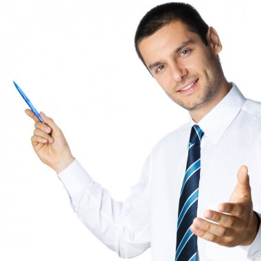 Business man showing blank area for sign or copyspace