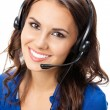 Support phone operator in headset, isolated — Stock Photo #20030611