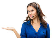Support phone operator showing, on white — Stock Photo