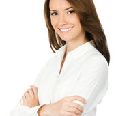 Young smiling businesswoman, on white — Stok fotoğraf