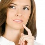 мышление или планирования бизнес-леди, изолированные — Стоковое фото
