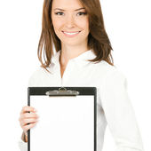 Businesswoman with clipboard, isolated — Stock Photo